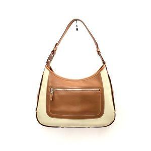 Ferragamo Cognac Leather & Canvas Shoulder Bag